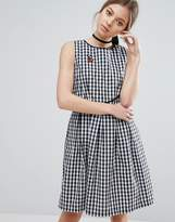 Trollied Dolly Gingham Skater Dress With Cherry Badge