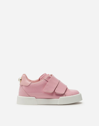 Dolce & Gabbana Portofino Light Sneakers In Patent Leather With Velcro