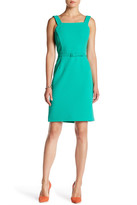 Oscar de la Renta Sleeveless Square Neck Wool Blend Pencil Dress