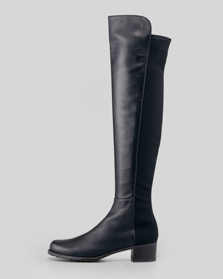 Stuart Weitzman Reserve Narrow Leather Stretch-Back Over-the-Knee Boot, Navy