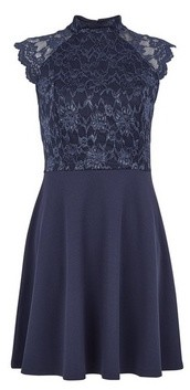 Dorothy Perkins Womens Navy High Neck Skater Dress