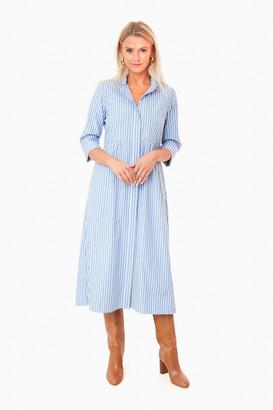 Chambray Stripe Midi Royal Shirt Dress