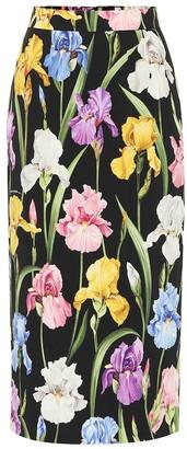 Dolce & Gabbana Floral-printed silk midi skirt