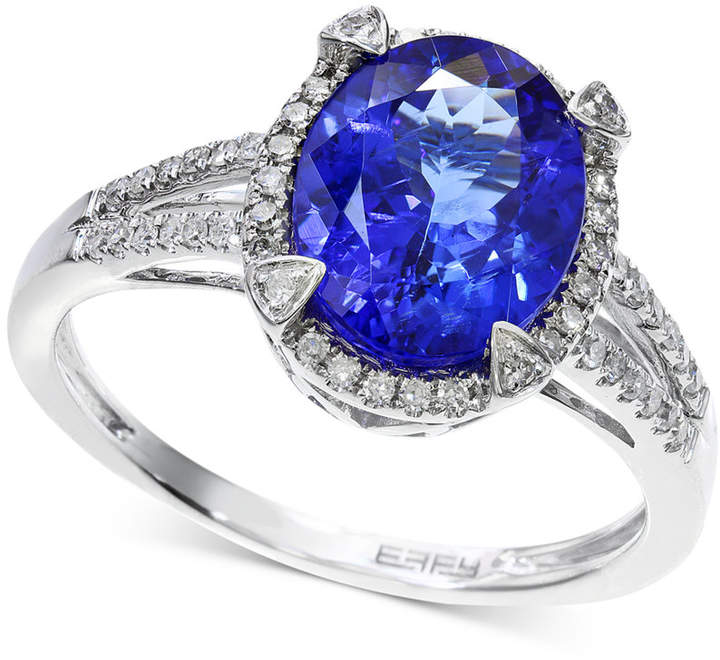 Effy Tanzanite (2-5/8 ct. t.w.) and Diamond (1/4 ct. t.w.) Ring in 14k White Gold, Created for Macy's