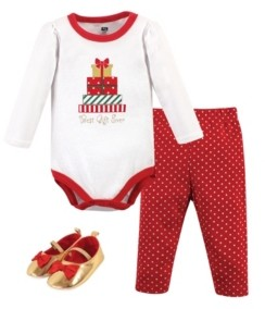 Hudson Baby Baby Girls Christmas Gifts Bodysuit, Pant and Shoe Set, Pack of 3