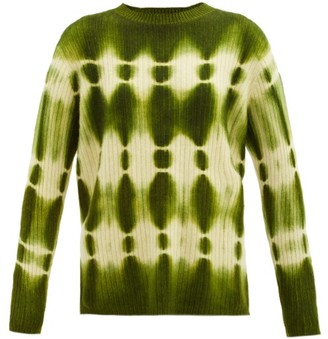 The Elder Statesman Tie-dye Ribbed-cashmere Sweater - Green