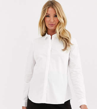 Asos DESIGN Maternity long sleeve fitted shirt in stretch cotton-White