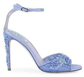 Rene Caovilla Women's Crystal-Embellished Lace & Leather Peep-Toe Sandals