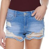 Almost Famous Juniors' Ripped Shortie Jean Shorts
