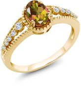 Gem Stone King 1.01 Ct Oval Mango Mystic Topaz White Topaz 18K Yellow Gold Ring