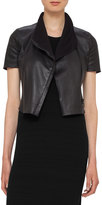 Akris Punto Leather Short-Sleeve Cropped Biker Jacket, Black