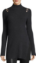 Marled by Reunited Clothing Lattice-Shoulders Turtleneck Tunic, Charcoal