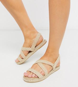 Raid Wide Fit Rudi flat sandals in natural