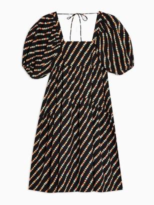Topshop Tiered Poplin Midi Dress -Black