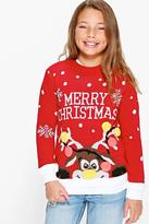 Boohoo Girls Merry Christmas Jumper