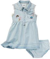 Hudson Patched Denim Dress & Bloomer Set (Baby Girls)