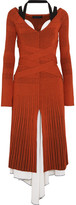Proenza Schouler Plated-knit And Stretch-silk Midi Dress - Orange