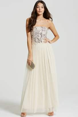 Beige Lace Overlay Bandeau Maxi Dress