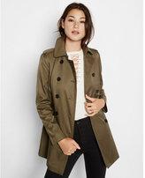 Express olive trapunto stitch sash trench coat