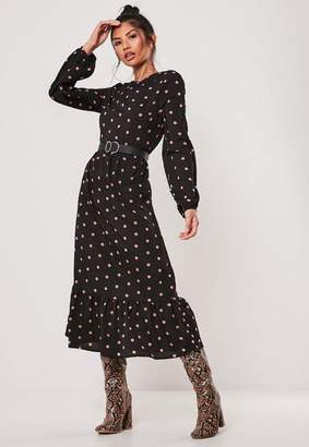 Missguided Petite Black Polka Dot Ruffle Hem Midi Smock Dress