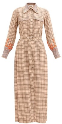 Chloé Belted Windowpane-check Crepe Shirt Dress - Beige Multi