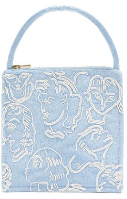 Shrimps Augusta Bead-embellished Silk Handbag - Blue Multi