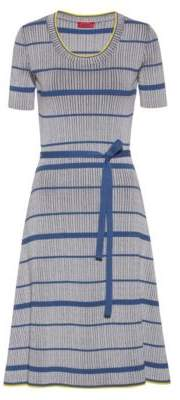 HUGO Midi dress in super-stretch ribbing with horizontal stripe