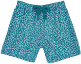 Vilebrequin Micro-Turtle-Print Swim Trunks-TURQUOISE, BLUE