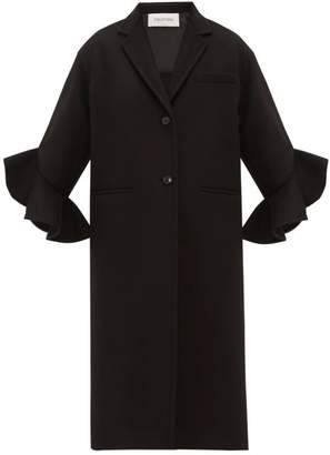 Valentino Ruffled-cuff Single-breasted Wool-blend Coat - Womens - Black