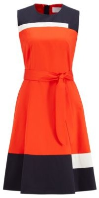 HUGO BOSS Sleeveless dress in satin-touch cotton with tie belt
