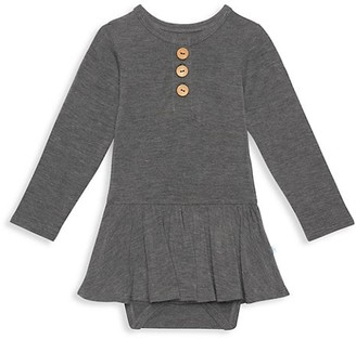 Posh Peanut Baby Girl's Charcoal Long-Sleeve Twill Bodysuit