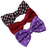 DBE0170 Young Style Microfiber Pre-Tied Bowties For Wedding 3 Pack Bow Tie Set By Dan Smith