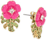 Betsey Johnson Gold-Tone Tropical Flower Front and Back Earrings
