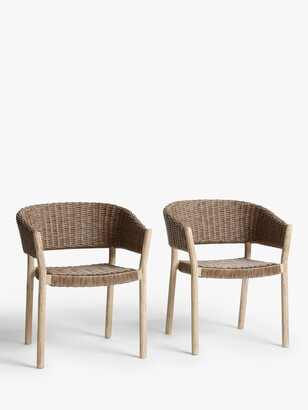 Croft Collection Burford Garden Woven Dining Chairs, Set of 2, FSC-Certified (Acacia Wood), Natural