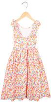 Oscar de la Renta Girls' Printed Pleated Dress