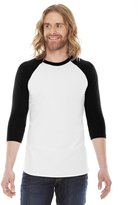 American Apparel Unisex Poly/cotton 3/4 Sleeve Raglan Shirt - White/ Black - XL