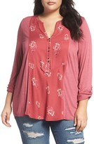 Lucky Brand Plus Size Women's Print Woven Front Knit Henley Top