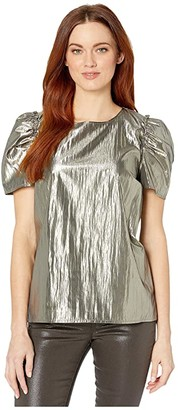 CeCe Puff Sleeve Gold Lame Blouse (Silver Charm) Women's Clothing