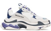 Balenciaga White and Blue Triple S Leather Sneakers
