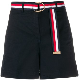 Tommy Hilfiger belted high-rise shorts