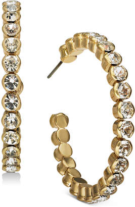 INC International Concepts Inc Gold-Tone Large Crystal Hoop Earrings