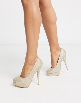 Truffle Collection platform heeled shoes in gold
