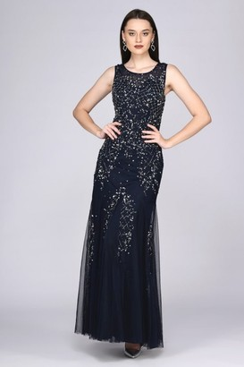 Gatsbylady London Anna Illusion Neckline Maxi Dress in Navy