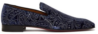 Christian Louboutin Dandelion Velvet Loafers - Mens - Navy