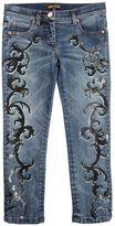 Roberto Cavalli Baroque Printed Stretch Denim Jeans