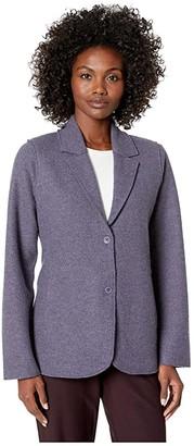 Eileen Fisher Lightweight Boiled Wool Notch Collar Jacket (Blue Shale) Women's Clothing