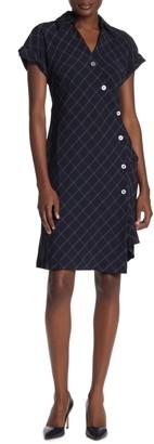 Robbie Bee Spread Collar Diamond Print Shirt Dress