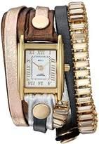 La Mer Women's Quartz Metal and Leather Casual WatchMulti Color (Model: LMBGT001)