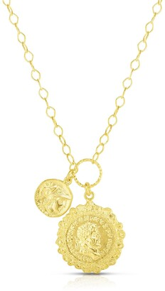 Sphera Milano 14K Yellow Gold Plated Sterling Silver Double Coin Charm Necklace