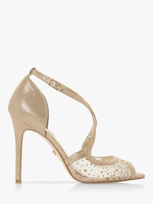 Dune Misa Mesh Crystal High Sandals, Gold